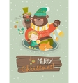 Cute girl funny bear and owl celebrating vector image