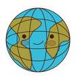 globe world cartoon kawaii in colorful silhouette vector image