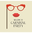 poster welcome carnival party glasses and woman vector image