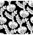 Garden flowers black and white style Seamless vector image