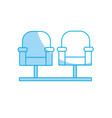 silhouette cinema chair to watch movie scene vector image
