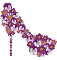 Shoe decorated with flowers vector image