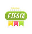 fiesta original logo design label with colorful vector image