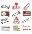 Japanese sushi bar or restaurant menu set vector image