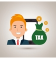 man smartphone tax money vector image