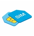 Sim card 3d isometric icon vector image