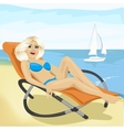 Young fashion woman relaxing on chaise-longue vector image