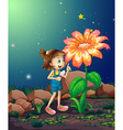 A girl with a shovel looking at the giant plant vector image