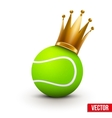 Tennis ball with royal crown of princess vector image