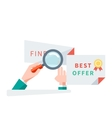 Find Best Offer Design Flat Concept vector image