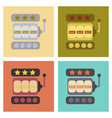 Assembly flat icons poker slot machine vector image