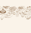 background with italian food ingredients vector image