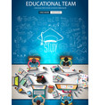 Educational infograph brochure template with hand vector image