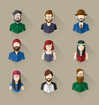 Icons Set of Male Female Faces in Hipster theme vector image
