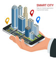 isometric smart city concept mobile gps vector image
