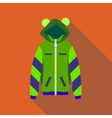 Woman green hoodie icon flat style vector image
