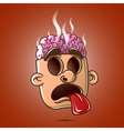 Head brain burst showing tongue without eyes vector image