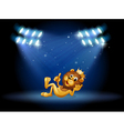 A king lion at the center of the stage vector image
