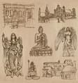 religion around the world - set hand drawn vector image
