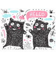 two kids friends black monsters for kids clip art vector image