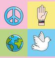 set peace hand symbol to global harmony vector image