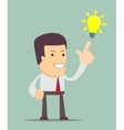 businessman pointing at light bulb vector image