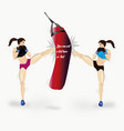 couple of girls boxing vector image