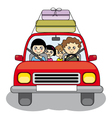 Family goes on holiday by car vector image