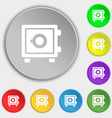 Safe icon sign Symbol on eight flat buttons vector image