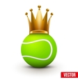 Tennis ball with royal crown of queen vector image