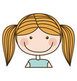 colorful caricature half body blond girl with vector image