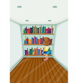 A young girl in front of the bookshelves with vector image vector image