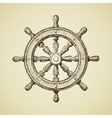 Hand-drawn vintage ships wheel in the old vector image vector image