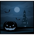 Halloween night background and evil pumpkin vector image