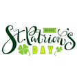 happy st patricks day text for greeting card vector image