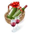 wicker wine basket vector image