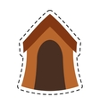 Wooden house dog pet line dotted vector image