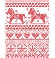 Christmas pattern with rocking horse angels vector image