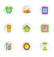 Time icons set cartoon style vector image