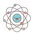atom cartoon kawaii in colorful silhouette vector image