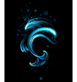 glowing dolphin vector image vector image