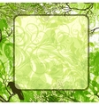green square background with tree branches and vector image vector image