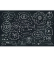 Doodle labelsbadgesdecor element on chalkboard vector image