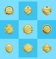 set of premium quality best gold labels guarantee vector image