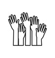 set several arms hands gesture on black silhouette vector image