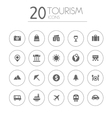 Simple thin tourism icons collection on white vector image