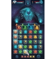 Monster battle GUI with spooky skeleton vector image vector image