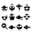 Fish meals icons - soup chowder goulash fried vector image vector image