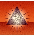 Dotwork raster triangle with rays vector image vector image