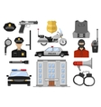 Police Decorative Flat Icons Set vector image
